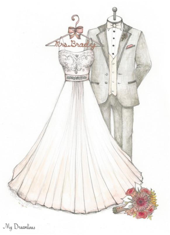 Drawn wedding dress party dress & Personalized suit Favors