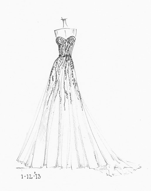 Drawn wedding dress simple #2