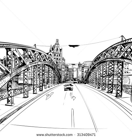 Drawn bridge Sketch vector illustration stock illustration