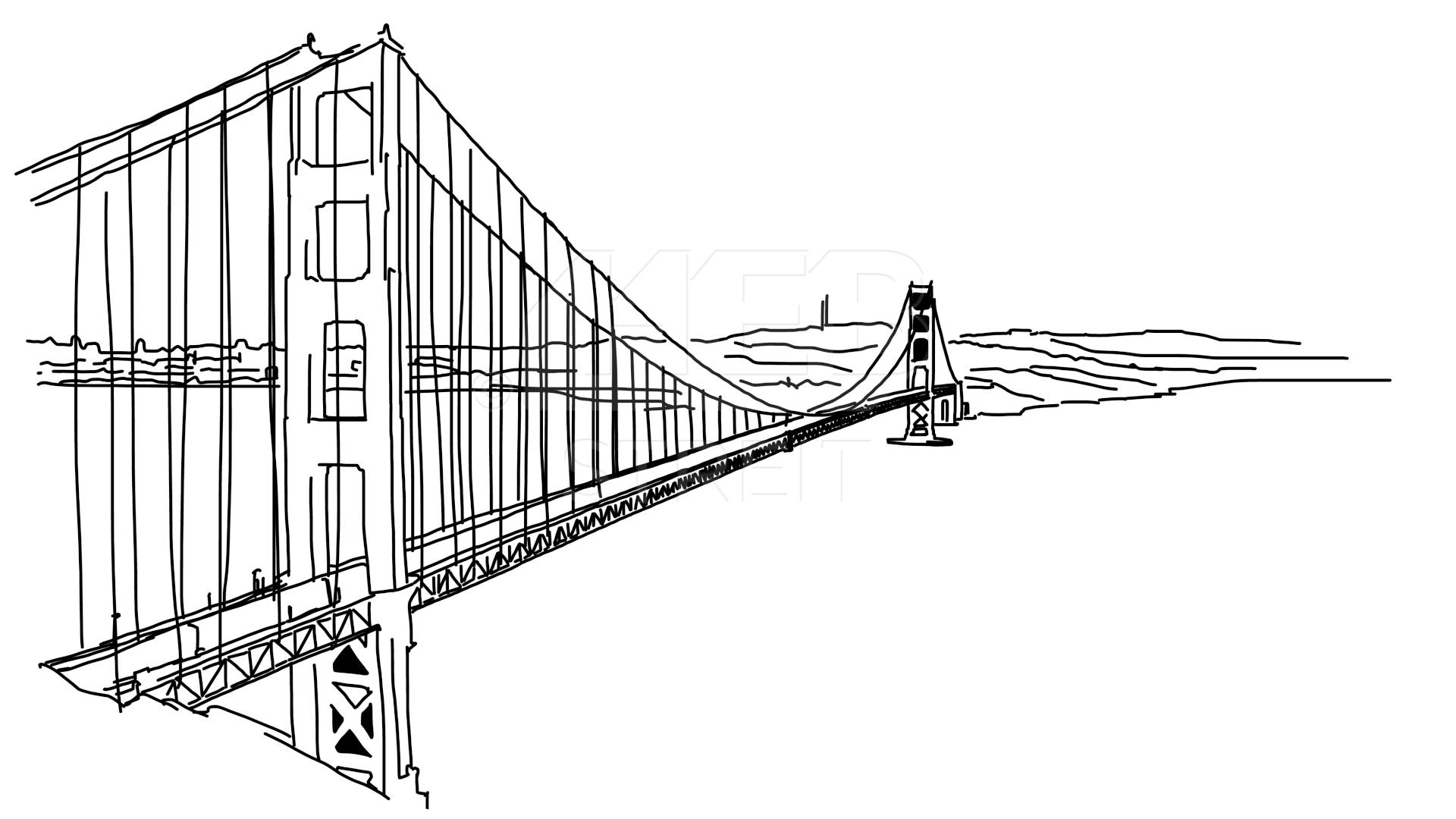 Drawn bulding  street scene Bridge Sketch Gate  Gate