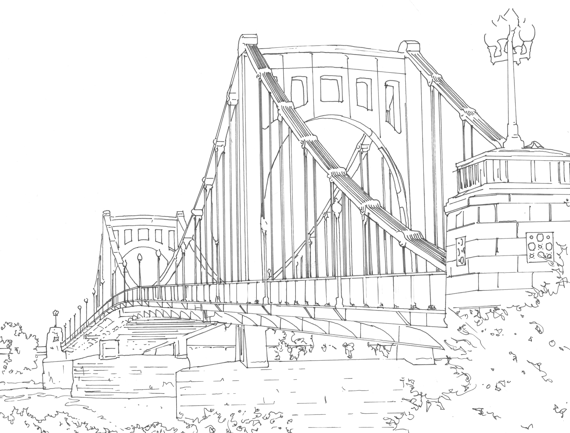 Bridge clipart coloring Of Adult Pages Coloring line