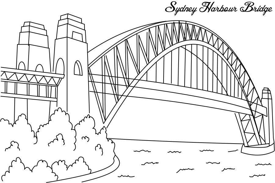Bridge clipart coloring Harbour Bridge Pinterest School Line