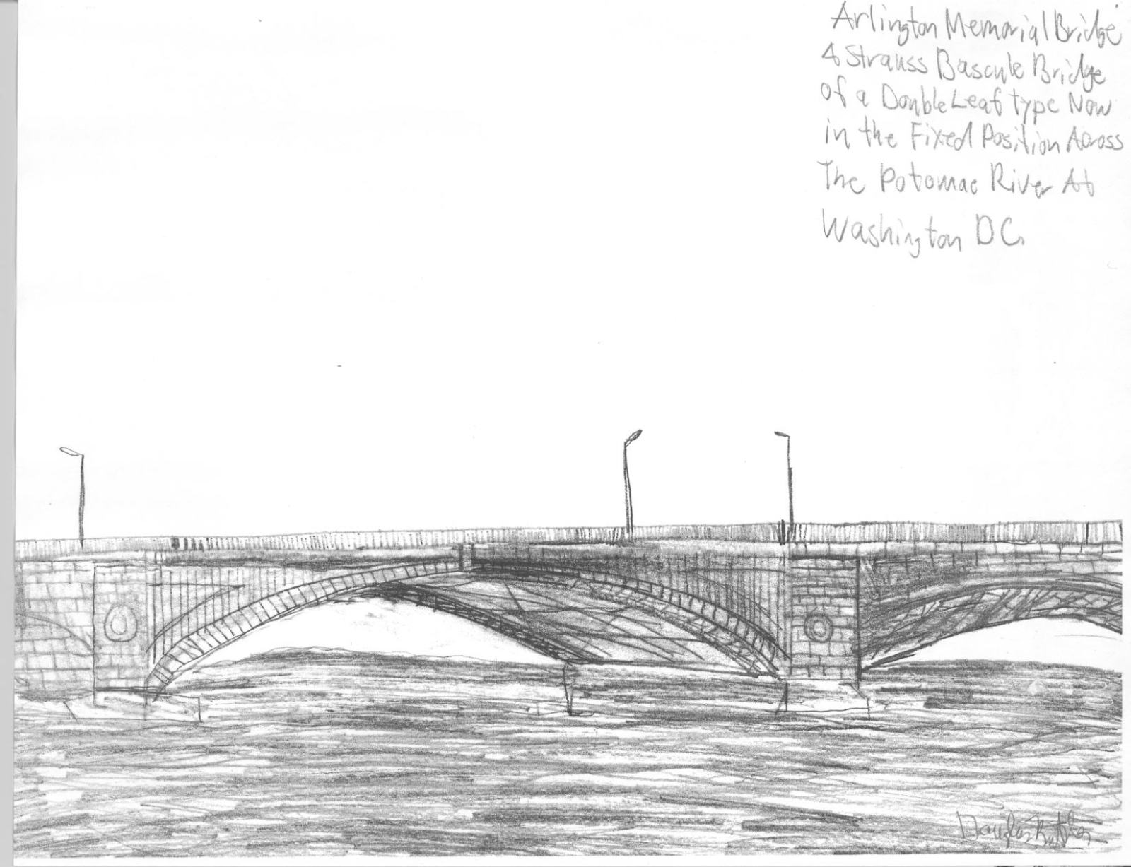 Drawn bridge double leaf Com Arlington Bridge Memorial Bridgehunter