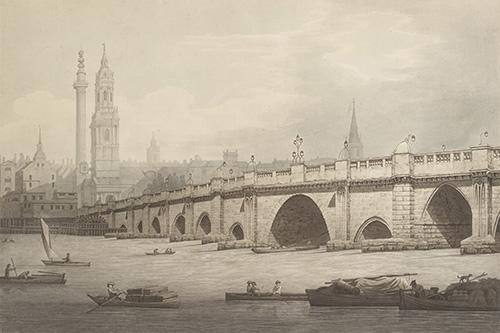 Drawn bridge london waterloo Historians' Farrington Bridge 1789 London