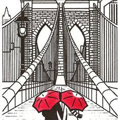 Drawn bridge love New NYC black 8x10 York