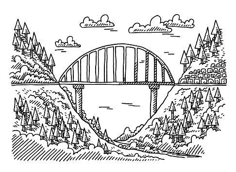 Drawn bridge side view View Bridge Drawing Hand Bridge