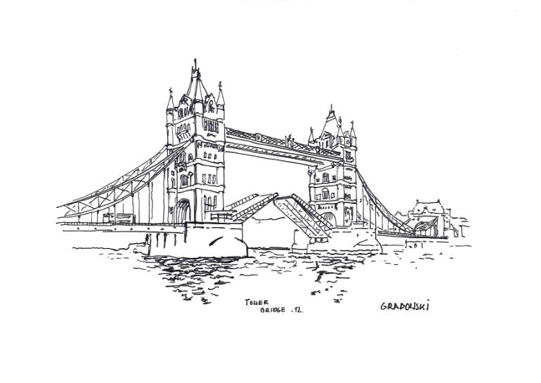 "Drawn bridge tower bridge Saatchi ""Tower Artist Grabowski by"