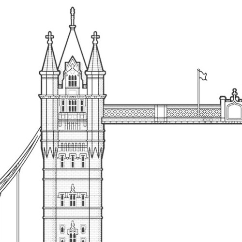 Drawn bridge tower bridge Print for of HALL progress
