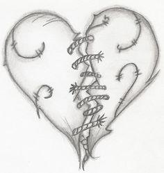 Drawn broken heart #7