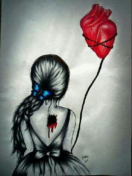 Drawn broken heart depression #10