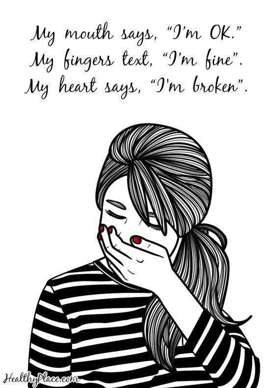 Drawn broken heart depression #8