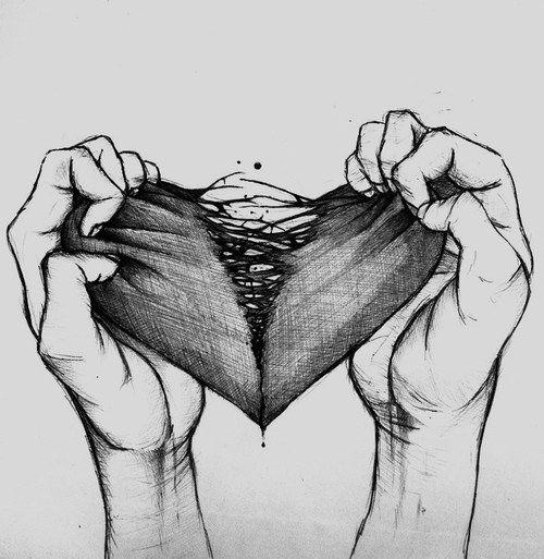 Drawn broken heart depression #6