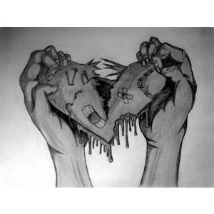Drawn broken heart emo #7