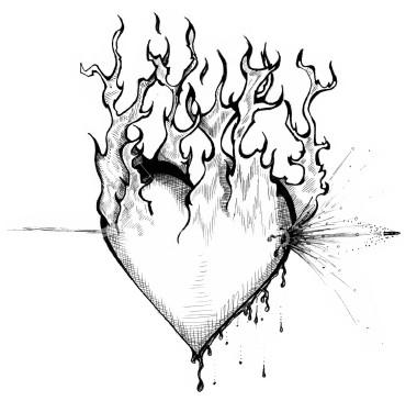 Drawn broken heart fire #15