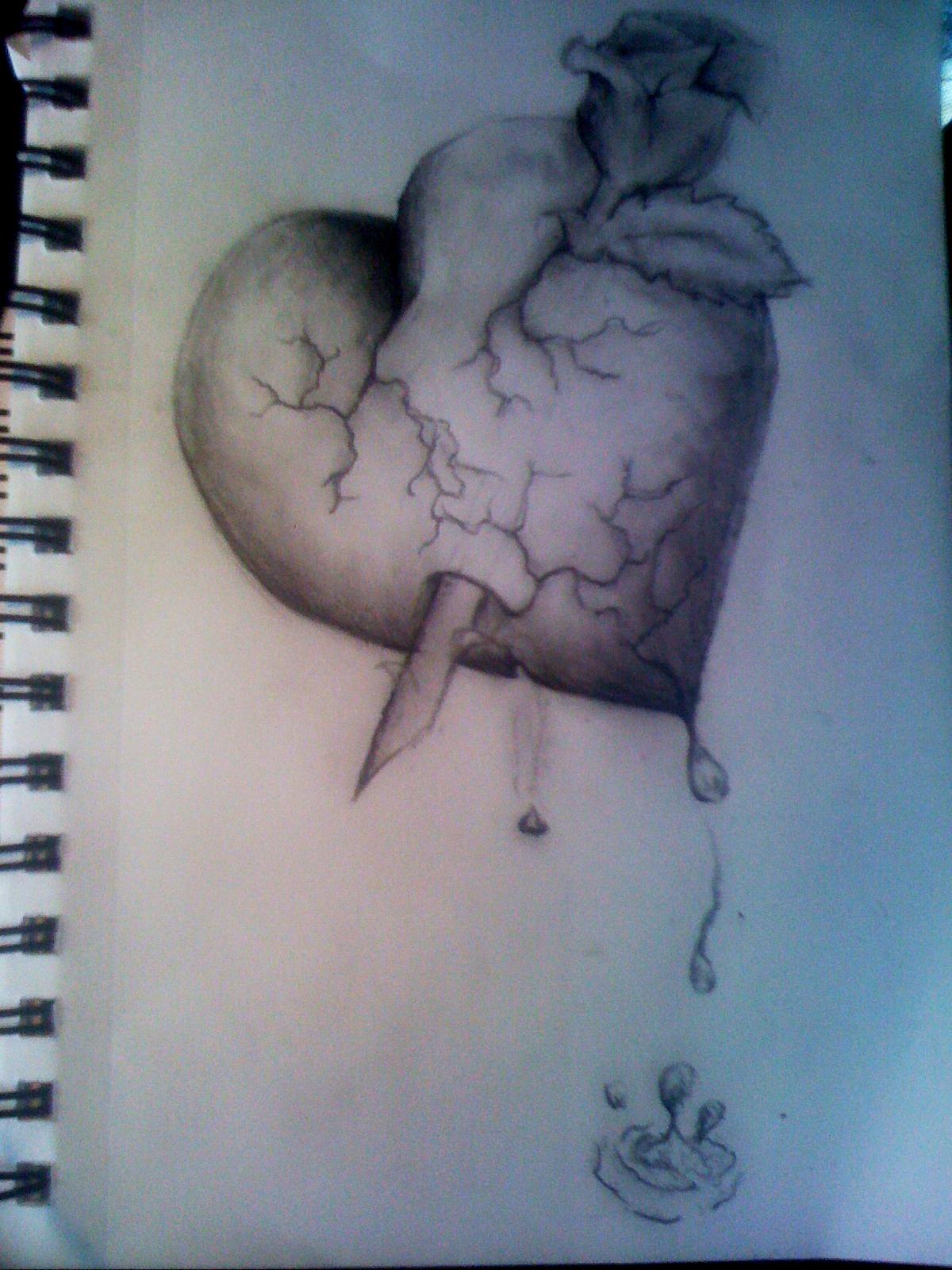 Drawn broken heart gothic #15