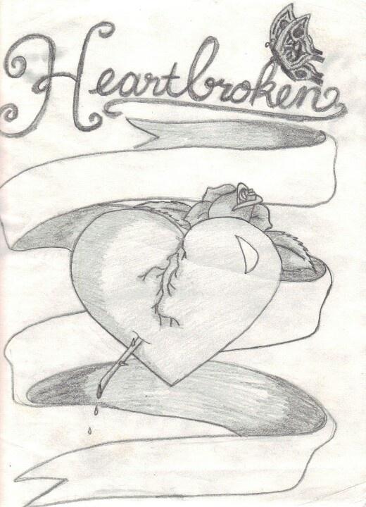 Drawn broken heart heartache #2
