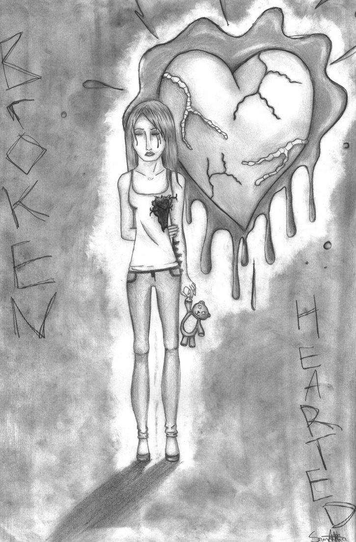 Drawn broken heart hearted #5