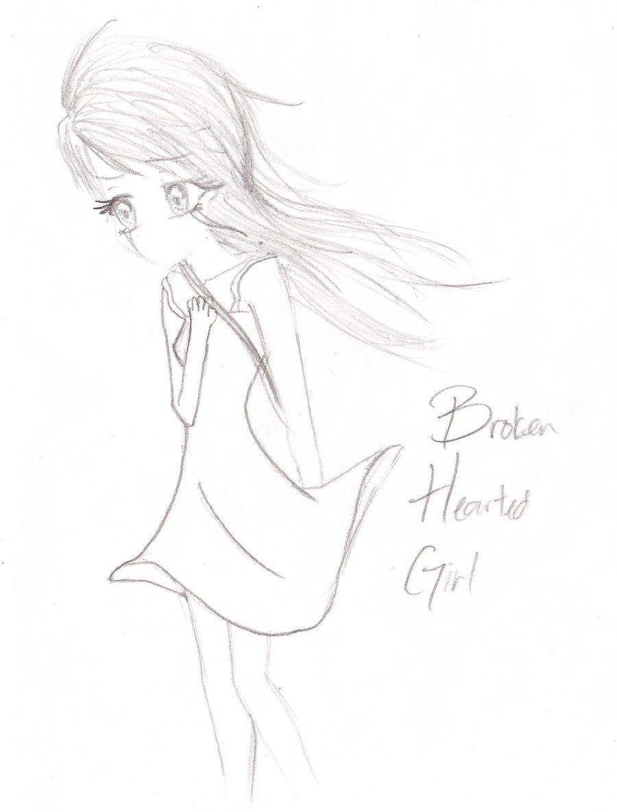 Drawn broken heart hearted #1