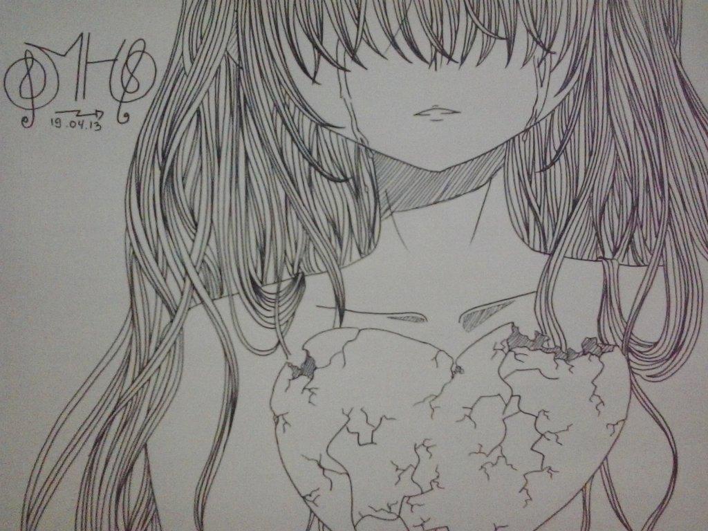 Drawn broken heart hearted #2