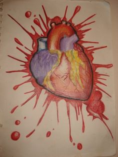 Drawn broken heart human heart #9