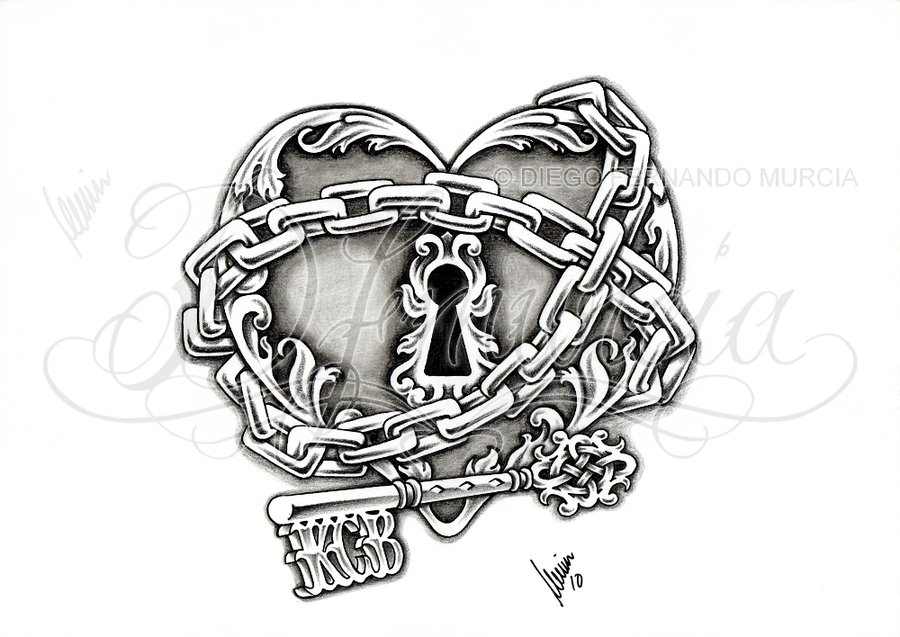 Drawn hearts lock Lock key Heart lock by