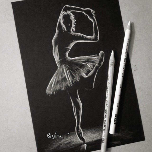 Drawn bubble charcoal Paper #Ballerina charcoal on black