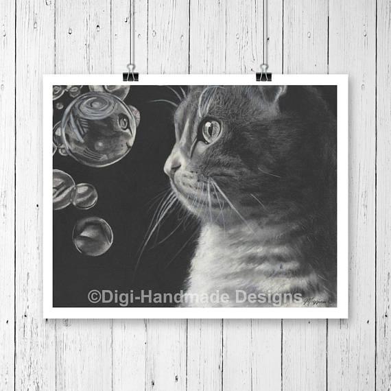 Drawn bubble charcoal Cat Charcoal Art  Cat