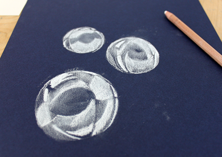 Drawn bubble charcoal With white shaded smudge shaded