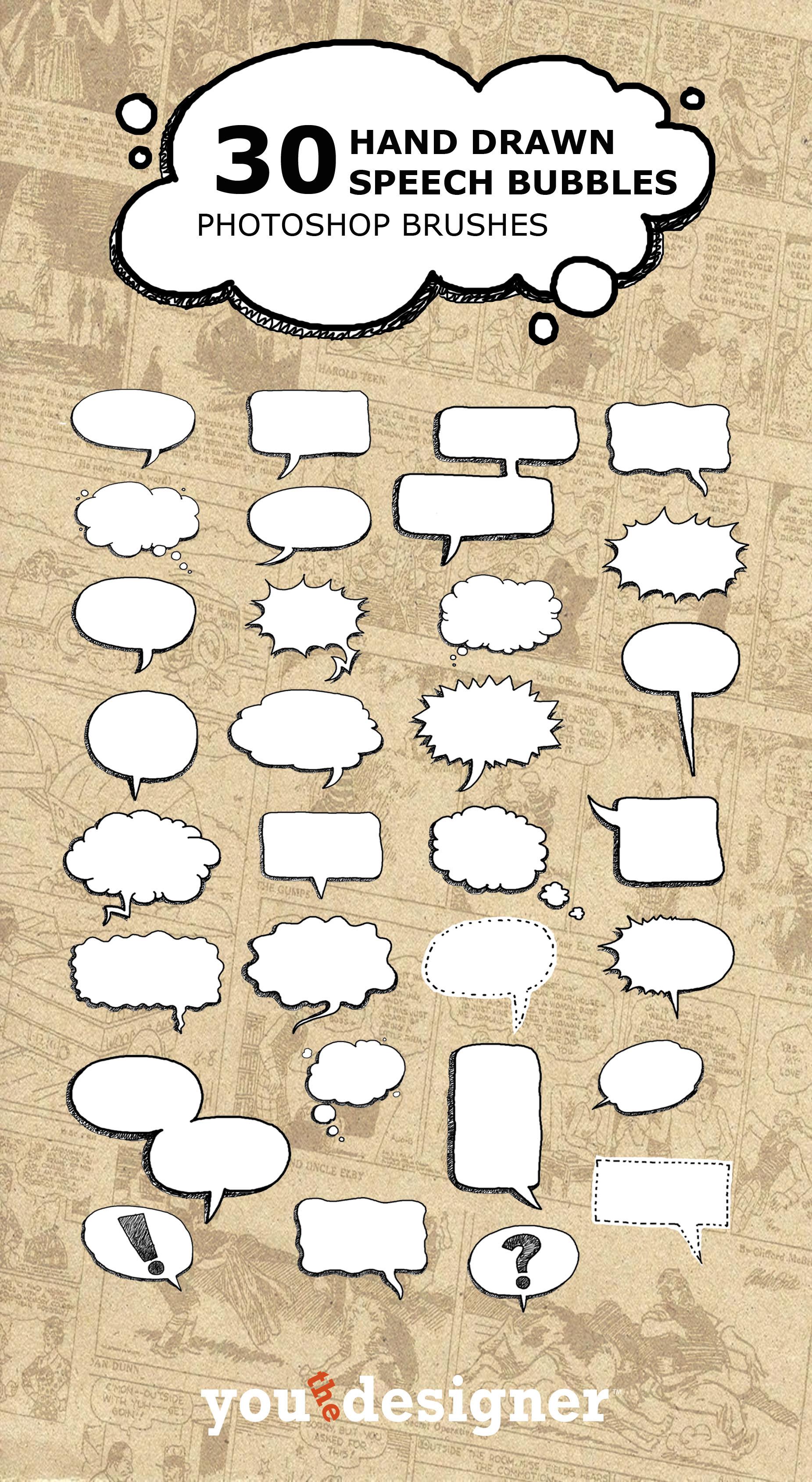 Drawn bubble conversation bubble Speech Hand Brushes  Drawn
