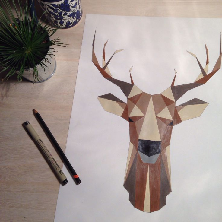 Drawn buck geometric Best Deer deer 25+ Geometric