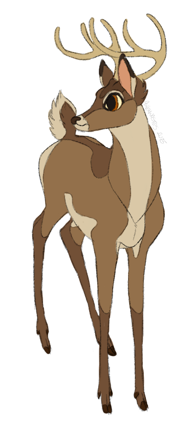 Drawn buck the endless forest Mule buck difficult is to