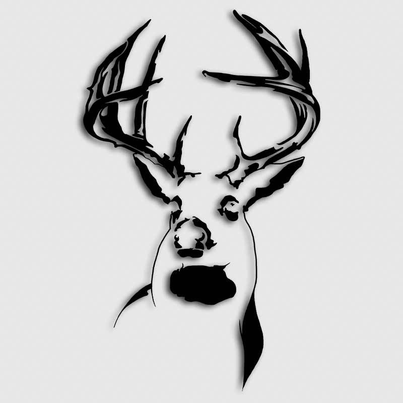 Drawn buck white tailed deer Whitetail Deer Decal Decal Buck