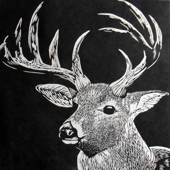 Drawn buck woodcut Kozuke  white) on paper
