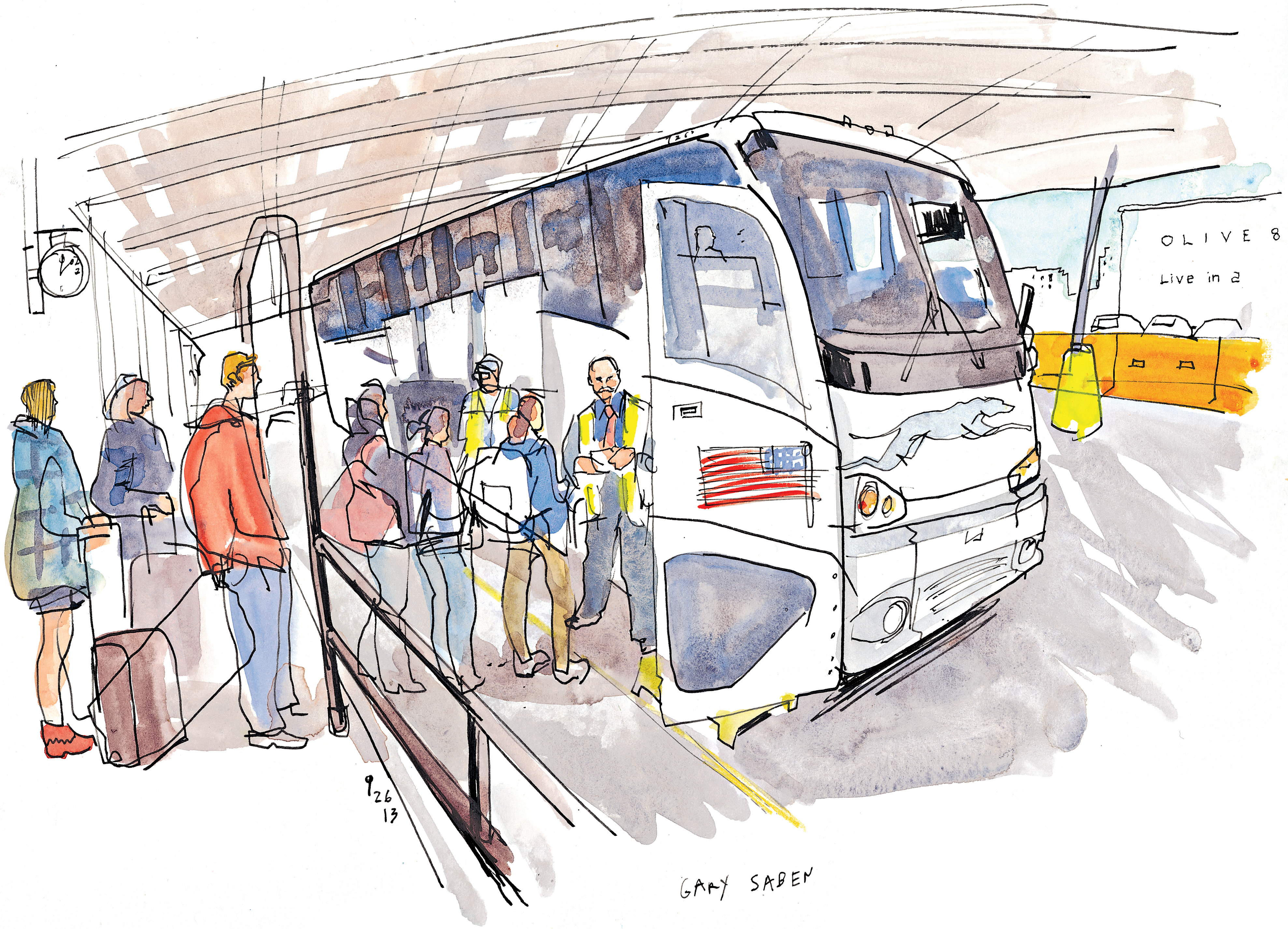 Drawn bud coach bus The End of Seattle station