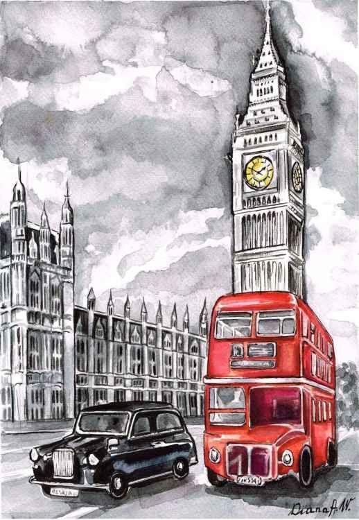 Drawn big ben red bus Ben Aleksanian Diana Big images