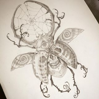 Drawn bugs skull #drawing tattoo Beetle by photo
