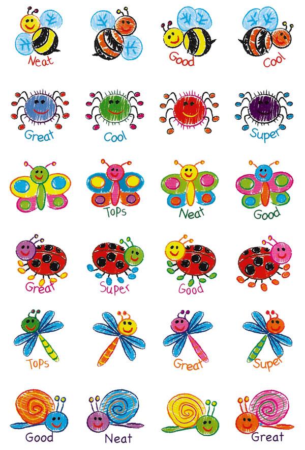Drawn bugs kid Drawn Bugs Merit Stickers 96