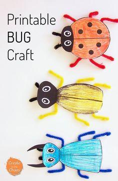 Drawn bugs template Bug printable Easy Craft bug