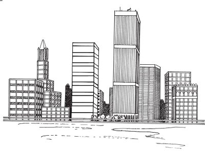 Drawn skyline Art Images Realistic Building Drawing