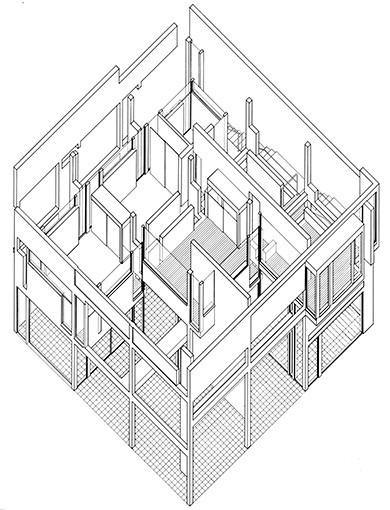 Drawn building axonometric Syntax Evolution: Eisenman's House