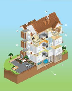 Drawn building isometric By isometric #house via Illustration