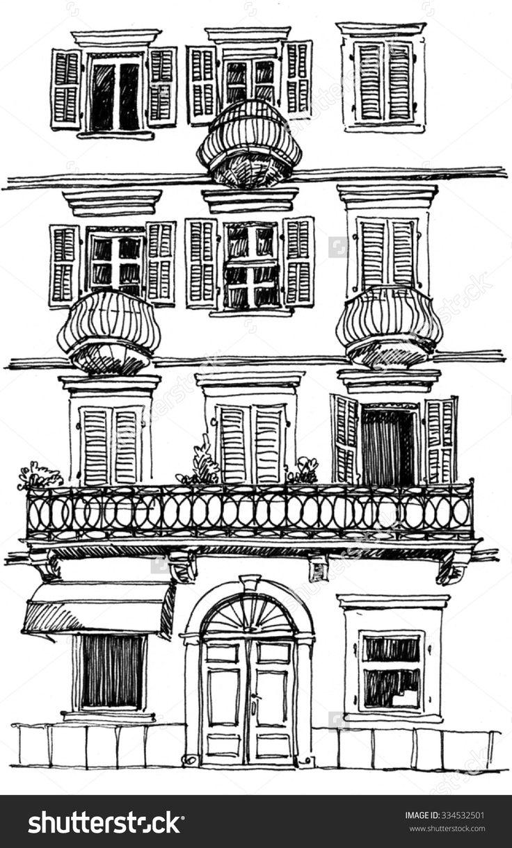 Drawn building pencil art Pinterest Shutterstock best Building Old