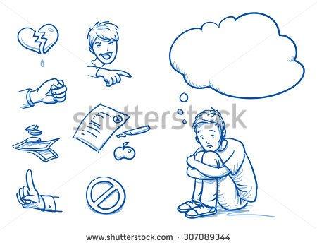 Drawn sad doodle Pointing bulbs boy and Hand