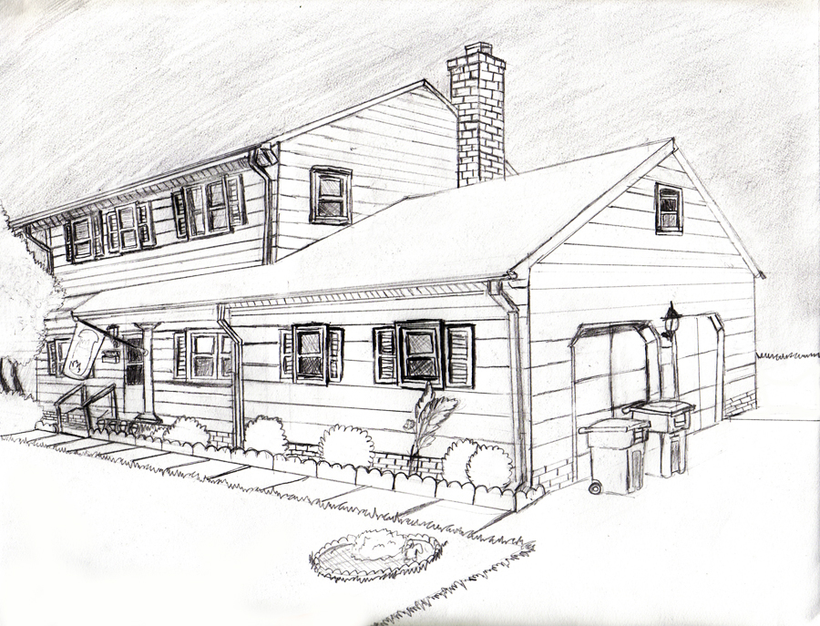 Drawn bulding  2 point perspective House point Perspective by