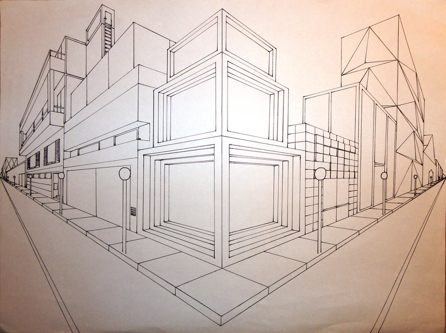 Drawn bulding  2 point perspective In Visual cityscape 2 School