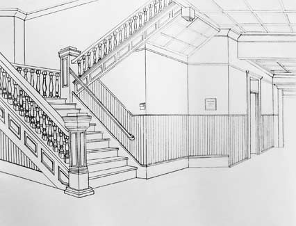 Drawn bulding  2 point perspective And Point Pin Perspective more