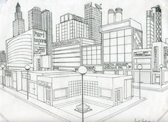 Drawn bulding  2 point perspective Learn them city how step