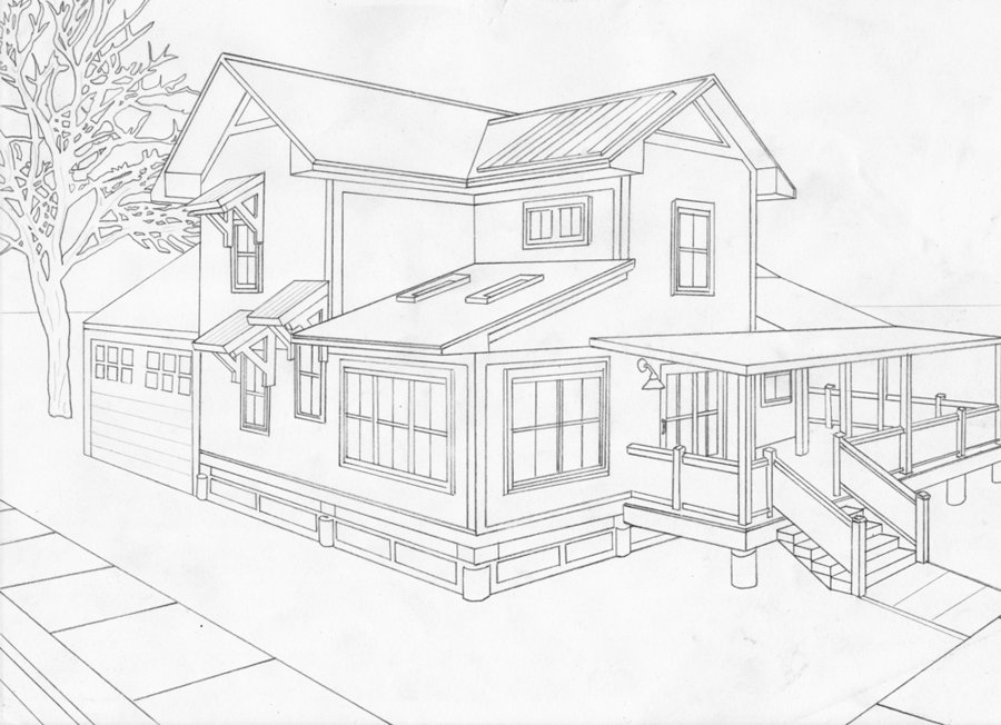Drawn bulding  2 point perspective Point com 2 perspective deviantart