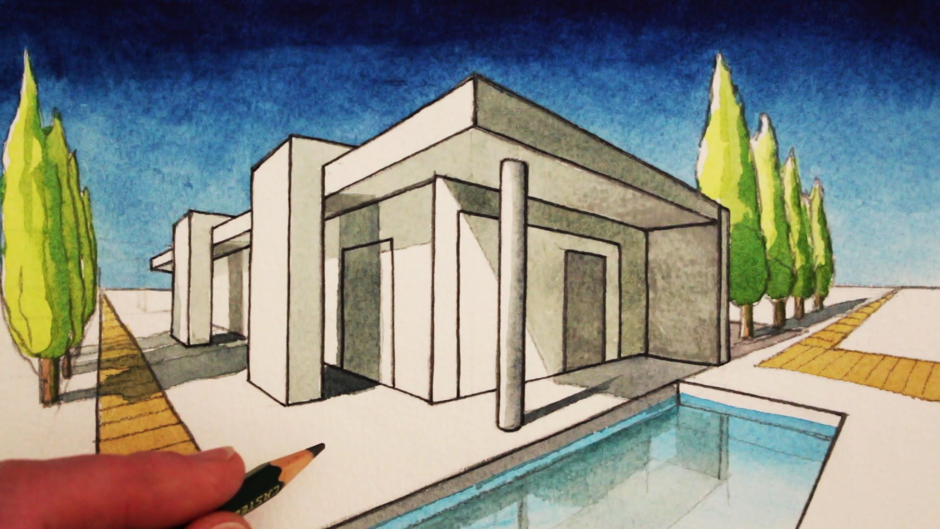 Drawn bulding  2 point perspective Draw to in YouTube House