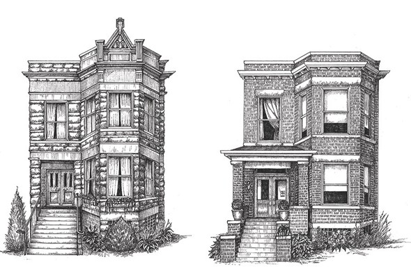 Drawn building detailed Get (or Drawing Launch of